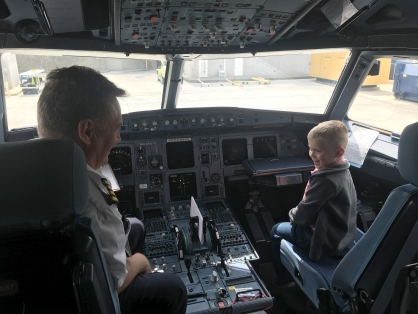 first time in the front of a plane