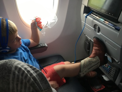 Sawyer enjoying the inflight entertainment